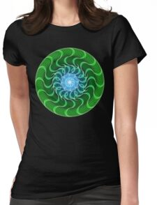 Waves of Green Mandala Womens Fitted T-Shirt