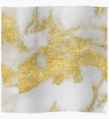 Marble - Yellow Gold Marble Foil on White Pattern Poster