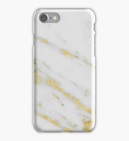 Marble - Shimmery Gold Marble on White Pattern iPhone Case/Skin