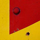Train Texture In Red And Yellow by Larry Costales