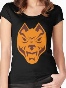 Angry Wolf Head Retro Women's Fitted Scoop T-Shirt