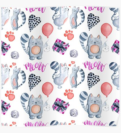 watercolor kissing cats valentine pattern  Poster