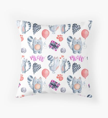 watercolor kissing cats valentine pattern  Throw Pillow