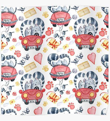 Watercolor cats in just married red car and brush lettering xoxo Poster