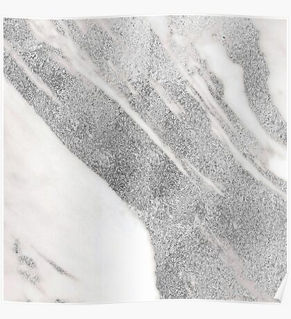 Marble - Silver Glitter on White Metallic Marble Pattern Poster