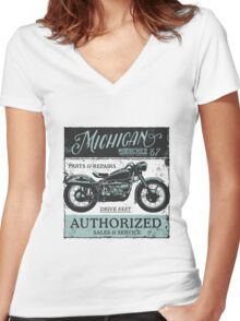 Michigan Motorcycle Authorized Sales & Service Women's Fitted V-Neck T-Shirt