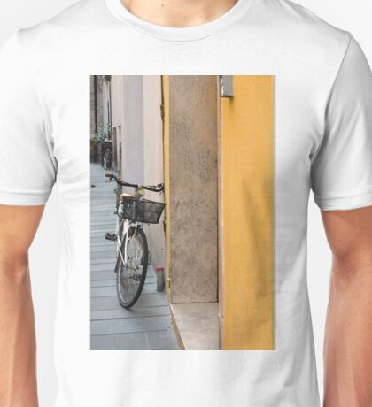 Bike near a yellow wall in Foligno, Italy Unisex T-Shirt