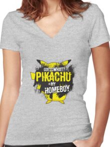 Who is your homeboy? Women's Fitted V-Neck T-Shirt