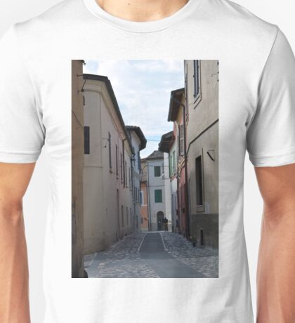 Narrow street in Foligno, Italy Unisex T-Shirt