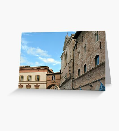 Old buildings in the central square in Foligno, Italy Greeting Card