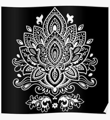 White Mandala Pattern Poster