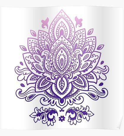 Purple gradient mandala pattern Poster