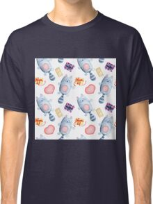 Watercolor cats with presents, gifts, hearts print Classic T-Shirt