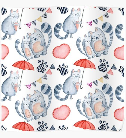 Watercolor cats couple with red umbrella Poster