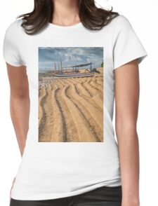 Boat on Sanur Beach at Low Tide Womens Fitted T-Shirt