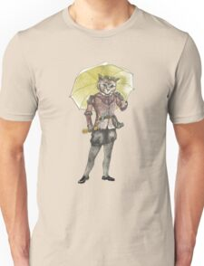 Steampunk Yellow Umbrella Cat with Goggles and Mask Unisex T-Shirt