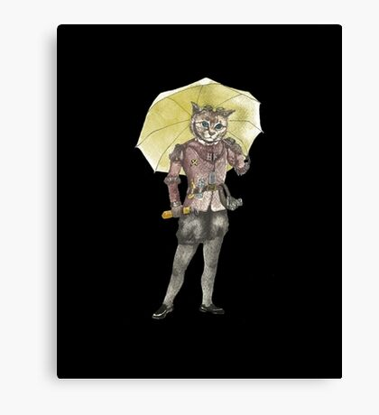 Steampunk Yellow Umbrella Cat with Goggles and Mask Canvas Print