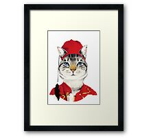 Original Greek Cat Art Print Framed Print