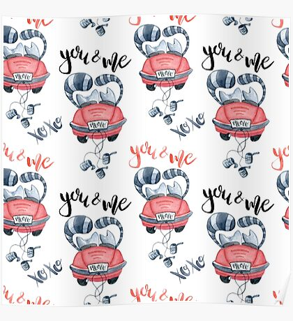 Watercolor cats in just married red car and brush lettering you and me Poster