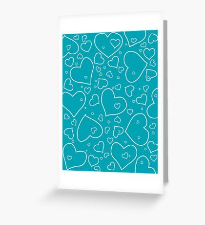 Turquoise and White Hand Drawn Hearts Pattern Greeting Card