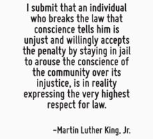 I submit that an individual who breaks the law that conscience tells him is unjust and willingly accepts the penalty by staying in jail to arouse the conscience of the community over its injustice, i by Quotr