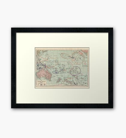 The Pacific Ocean Antique Maps Framed Print