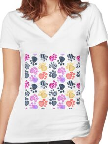 seamless pattern with footprints watercolor Women's Fitted V-Neck T-Shirt