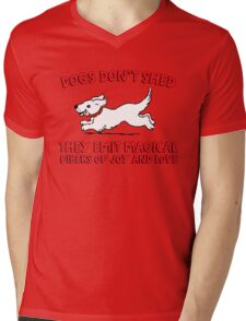 Dogs don't shed, they emit magical fibers of joy and love. Funny quote about dogs. Mens V-Neck T-Shirt