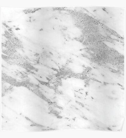 Marble - Silver and White Marble Pattern Poster