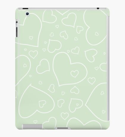 Palest Green and White Hand Drawn Hearts Pattern iPad Case/Skin