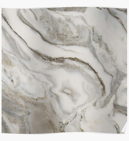 Marble - Earthy Black and White Swirl Marble Texture Poster