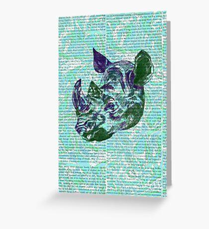 Green Rhino Greeting Card