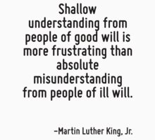 Shallow understanding from people of good will is more frustrating than absolute misunderstanding from people of ill will. by Quotr