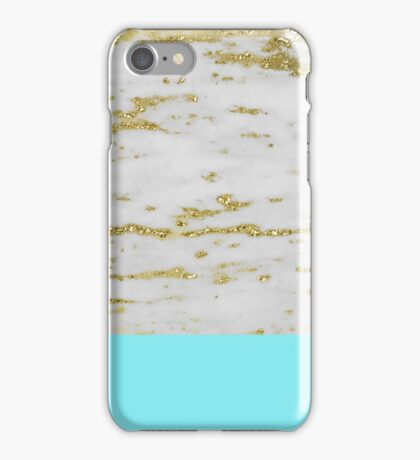 Faraldi gold marble and New York turquoise iPhone Case/Skin