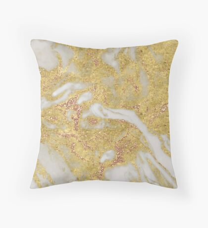 Gagliano - gold marble with gleaming rose gold Throw Pillow