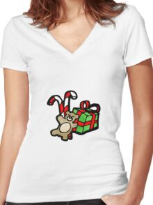 cartoon toys Women's Fitted V-Neck T-Shirt