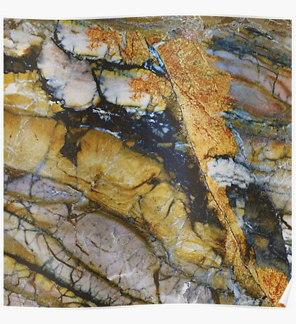 Natural Golden Opal Marble Poster