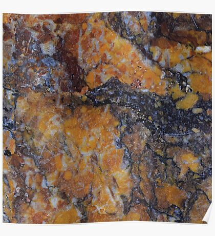 Burnt Orange Rust Marble Pattern Poster