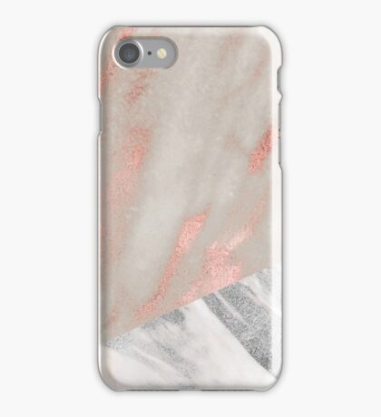 Rose gold marble - industrial concrete chrome iPhone Case/Skin