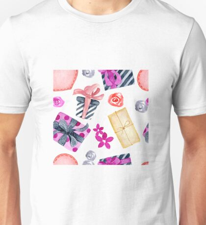 Watercolor Valentine's Day greeting card template Unisex T-Shirt