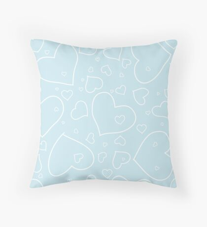 Palest Blue and White Hand Drawn Hearts Pattern Throw Pillow