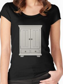 Glitch furniture tallcabinet basic white tall cabinet Women's Fitted Scoop T-Shirt