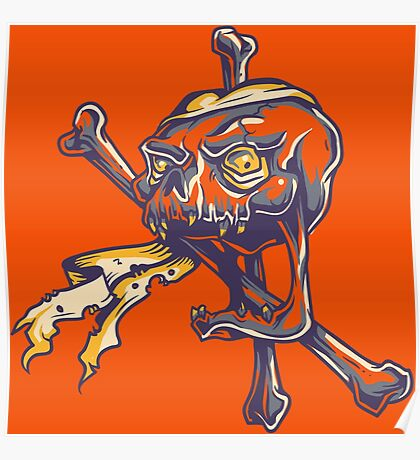 GHOST PIRATE, SKULL AND CROSSBONES Poster