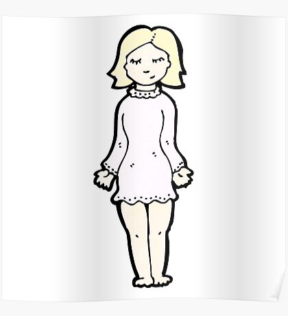 cartoon blond woman in night dress Poster