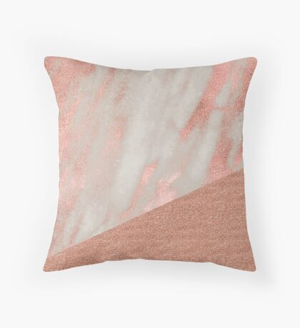 Rose gold marble - peach sparkle Throw Pillow