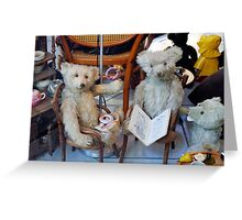 Group Of Antique Teddy Bears Greeting Card