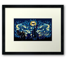 Dark Blue Starry Knight Abstract Framed Print