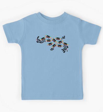 Cute Black and Rainbow Axolotls and Whirls on Grey Background Kids Tee