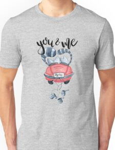 Watercolor cats in just married red car and brush lettering you and me  Unisex T-Shirt