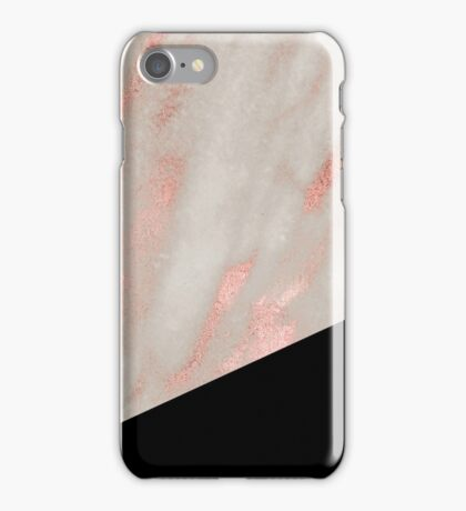 Rose gold marble - classic black iPhone Case/Skin